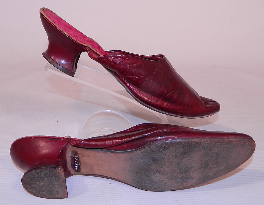 Victorian Womens Red Leather Quilted Silk Lining Backless Mules Slipper Shoes