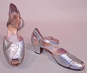 Vintage Sam's Slipper Shoppe Silver Metallic Leather Art Deco Ankle Strap Shoes