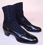 Victorian Black Wool & Leather High Top Button Boots T.E. Moseley Co. Boston