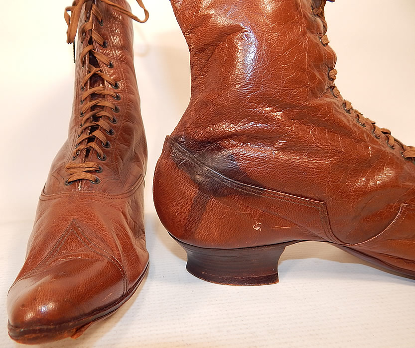 Victorian Antique Womens Brown Leather High Top Lace-up Boots Shoes