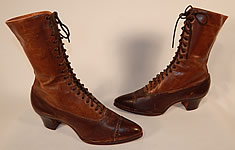 Unworn Vintage Victorian Brown Two Tone Leather High Top Lace-up Boots Shoes