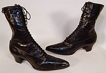 Unworn Victorian Black Leather High Top Lace-up Boots Poehlman Shoe Co.