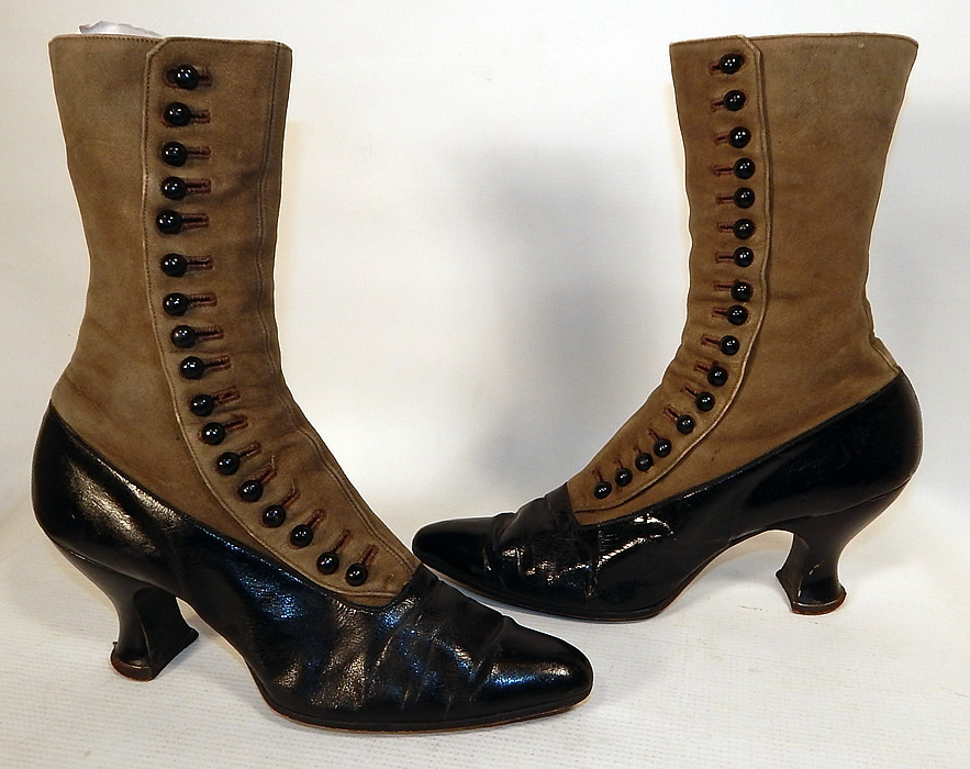 Victorian Women's Antique Gray Suede Black Patent Leather High Top Button Boots