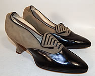 Vintage La Parisienne France Art Deco Gray Suede Black Leather Flapper Shoes