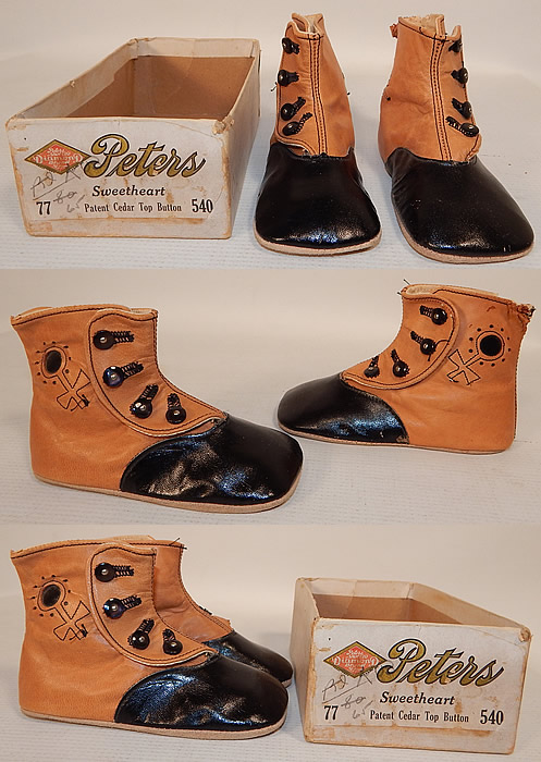 Victorian Peters Sweetheart Tan & Black Leather High Button Baby Boots Childs Shoes