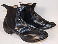 Unworn Antique Victorian Black Leather Hub Gore Elastic Side Dainty Ankle Half Boots