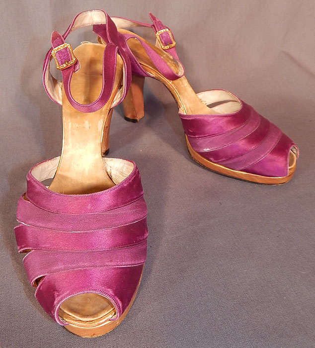 Vintage Purple Silk Satin Ankle Strap Gold Leather Heel Trim Platform Shoes