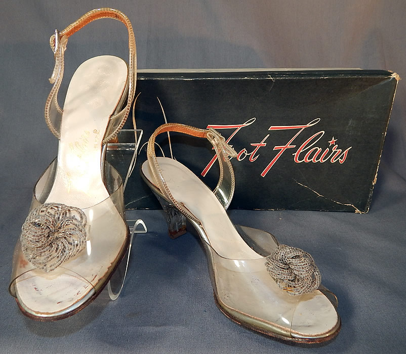 Vintage Foot Flairs Beaded Clear Carved Lucite High Heels Slingback Shoes