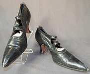 Edwardian Black Leather Double Button Strap Mary Jane Pointed Toe Shoes