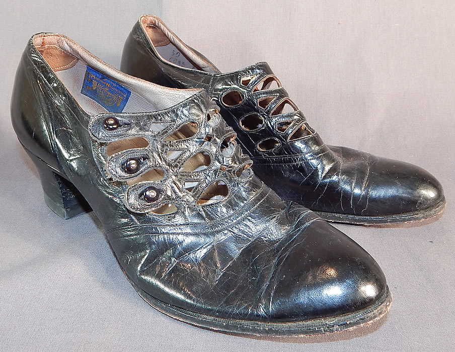 Edwardian Martha Washington Mayer Black Leather Lattice Button Strap Shoes
