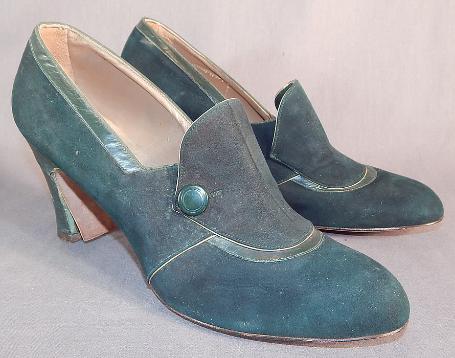 Vintage Art Deco Dark Green Suede Leather Button Trim Unworn Shoes