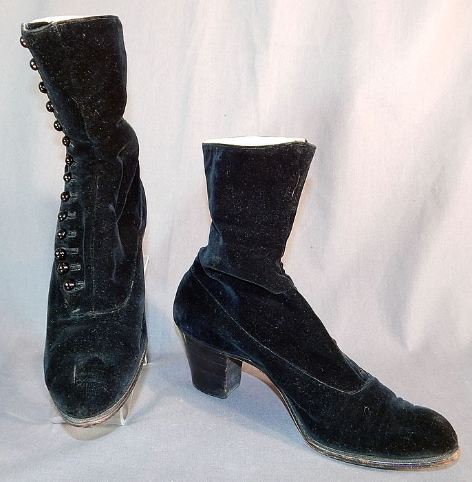 Victorian Black Velvet Pink Silk Lined High Top Button Boots Shoes