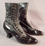 Victorian Hanan & Son Black Gray Two Tone Leather High Top Button Boots Shoes