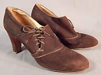 Vintage Marquise Footwear Brown Suede Leather Side Lacing Trim Art Deco Shoes