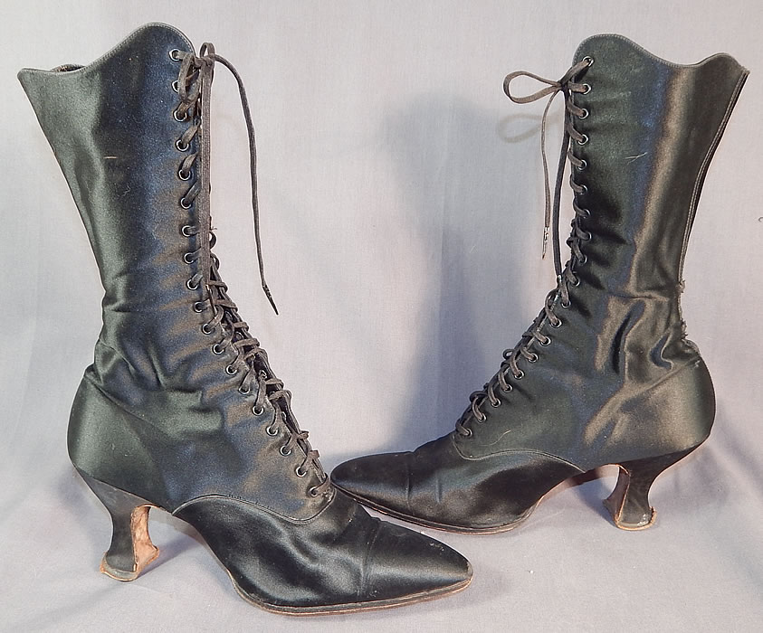 Victorian Vintage Oppenheim Collins & Co. Black Silk Satin High Top Lace-up Boots