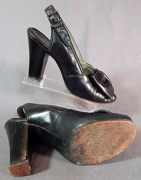 Vintage I. Miller Black Patent Leather Sling Back Peep Toe Pumps Pinup Shoes
