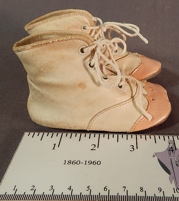 Vintage Antique Pink White Leather Baby Boots Childs Shoes & Box
