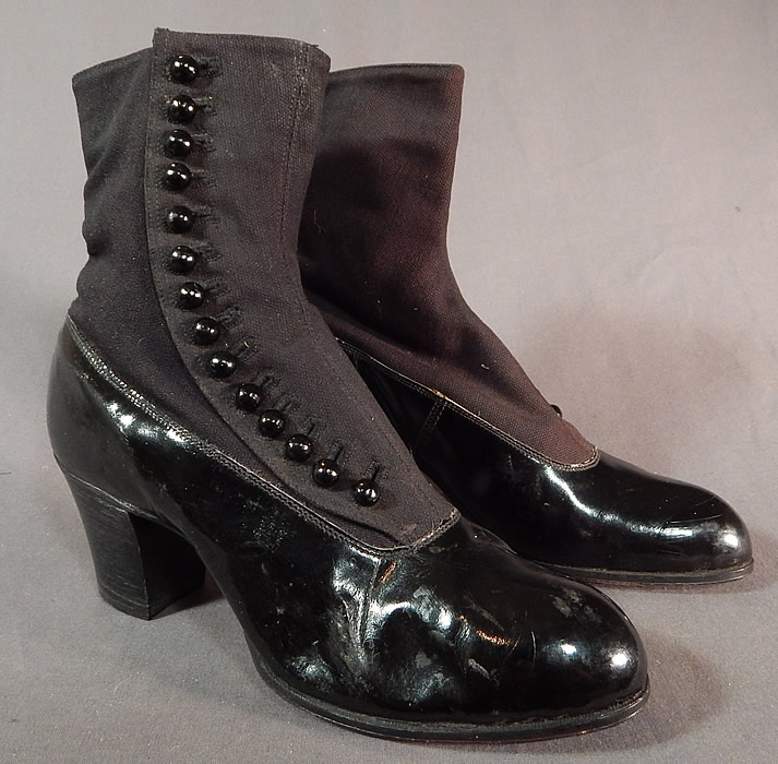 Victorian Unworn Womens Black Wool Patent Leather High Top Button Boots