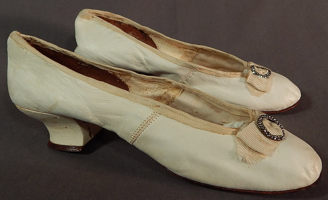 Victorian White Kid Leather Steel Cut Beaded Buckle Silk Bow Wedding Shoes
