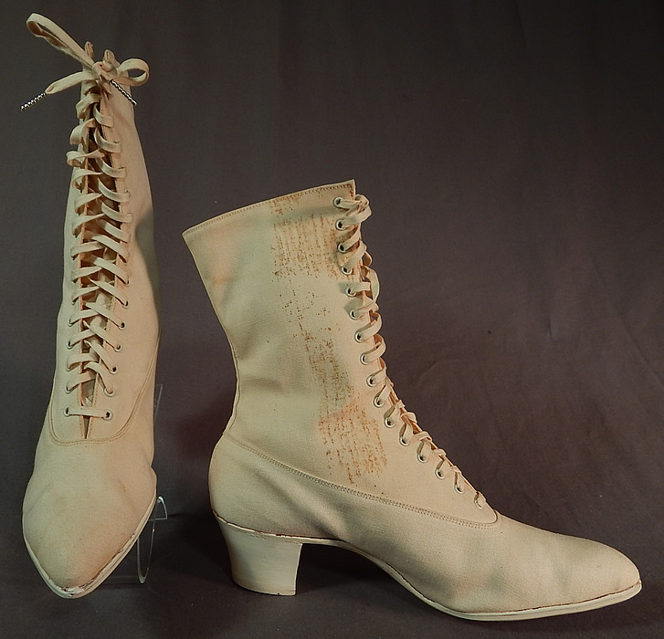Edwardian Womens White Cotton Canvas High Top Laceup Athletic Boots Sport Shoes