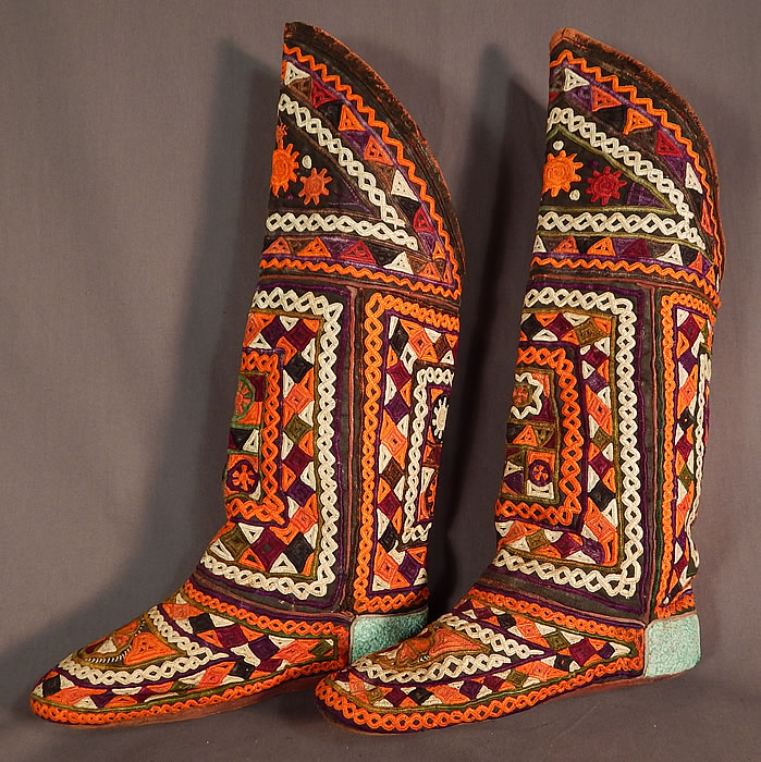 Vintage Antique Turkmen Tribal Ethnic Colorful Embroidered Leather High Top Boho Boots