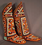 Vintage Turkmen Tribal Ethnic Colorful Embroidered Leather High Top Boho Boots