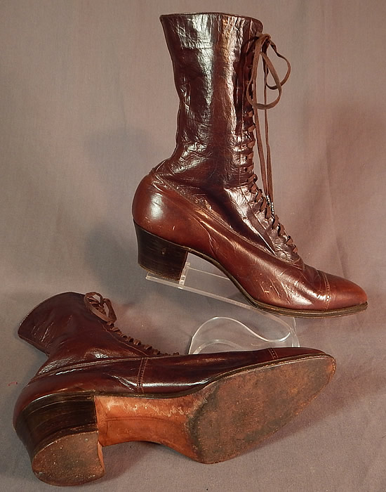 Edwardian Vintage Arch Preserver Selby Shoe Co. Brown Leather High Top Lace-up Boots