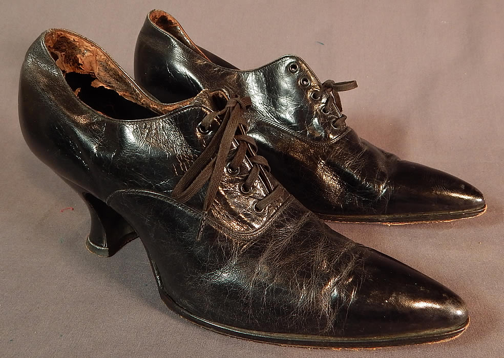 Edwardian Womens Black Leather Lace-up Pointed Toe Low Shoes