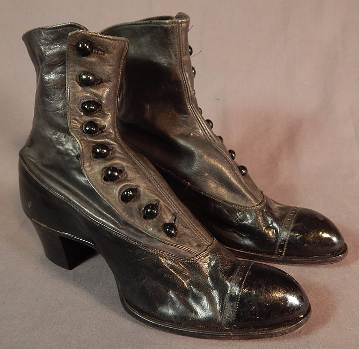 Victorian May Blossom Black Gray Two Tone Leather High Top Button Boots Shoes