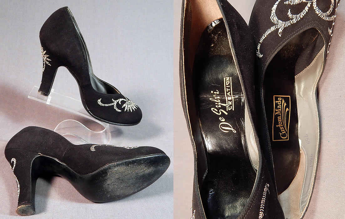 Vintage De Sylvi Creation Hand Painted Black Suede Leather Rhinestone Beaded Shoes