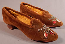 Victorian Brown Velvet Chenille Embroidered Steel Cut Beaded Slipper Shoes