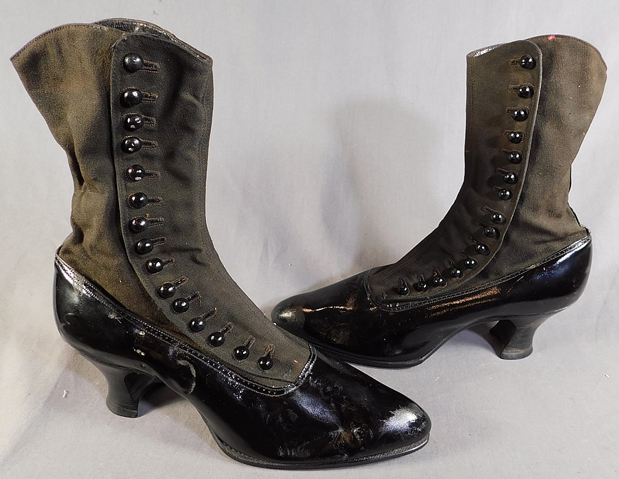 Edwardian Unworn Womens Black Wool Patent Leather High Top Button Boots