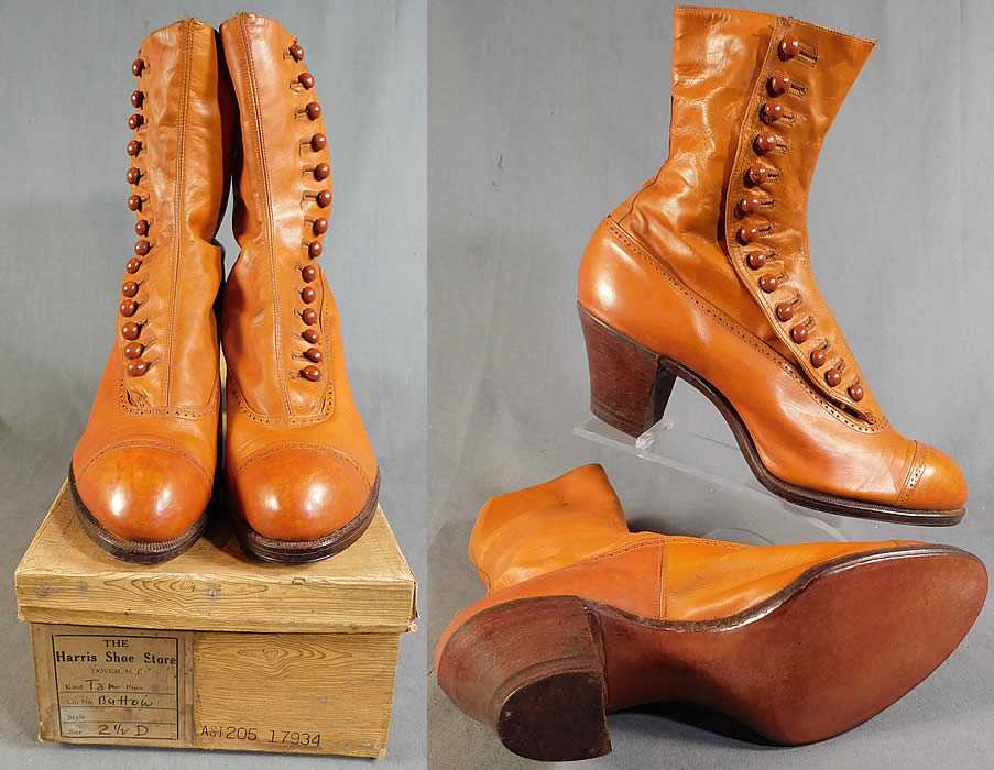 Edwardian Vintage Unworn Womens Tan Leather High Top Button Boots