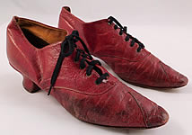 Victorian Rosenbloom Maker Red Leather Pointed Toe Low Lace-up Shoes