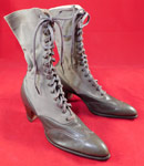 Unworn Edwardian Gray Wool Leather Two Tone High Top Lace-up Boots & Shoe Box