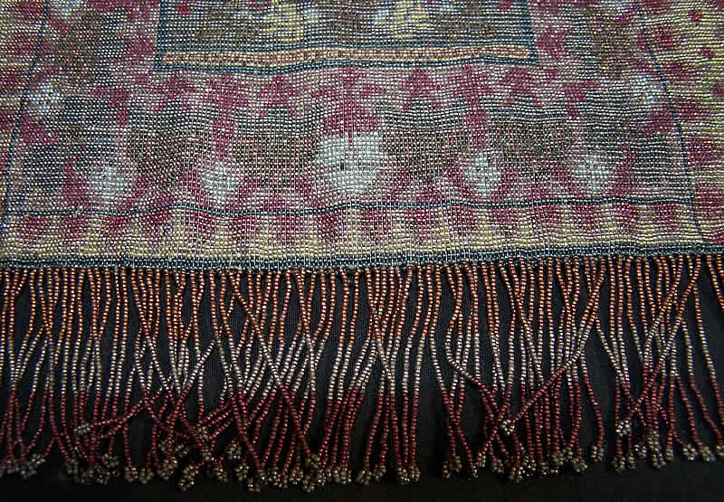 Large Beaded Oriental Rug Purse    Close up.