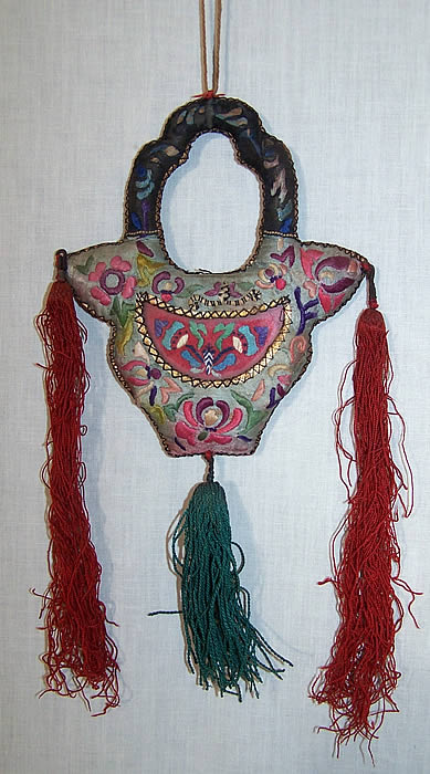 Antique Chinese Embroidered Purse Frame Fob  Front view.