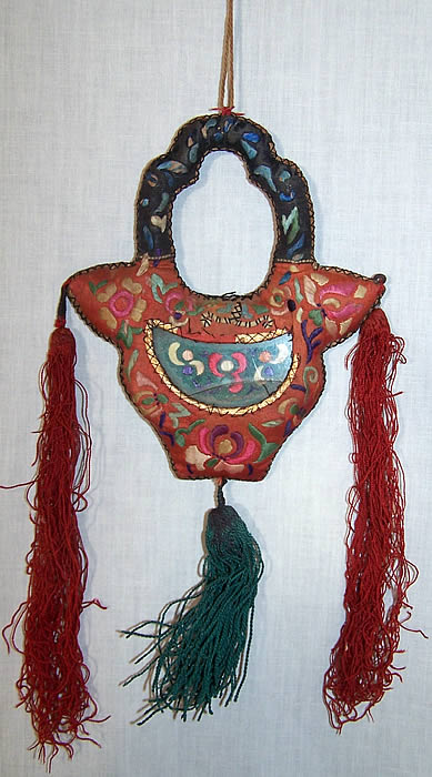 Antique Chinese Embroidered Purse Frame Fob Back View.