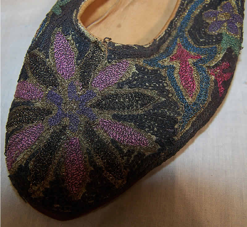 Ottoman Turkish Metal Embroidery Slipper Shoes Close up.