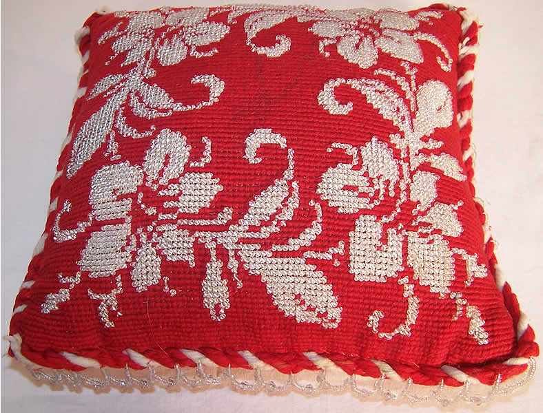 Victorian Beaded Needlepoint Pincushion Pillow Back View.