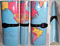 1980s Vintage World Map Magazine Plastic Clutch Purse