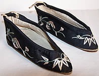 Antique Chinese Bound Foot Lotus Slippers Shoes Pair