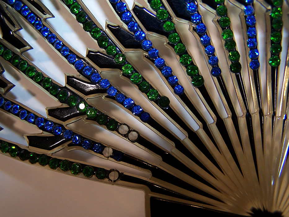 Art Deco Green & Blue Rhinestone Large Flapper Hair Comb