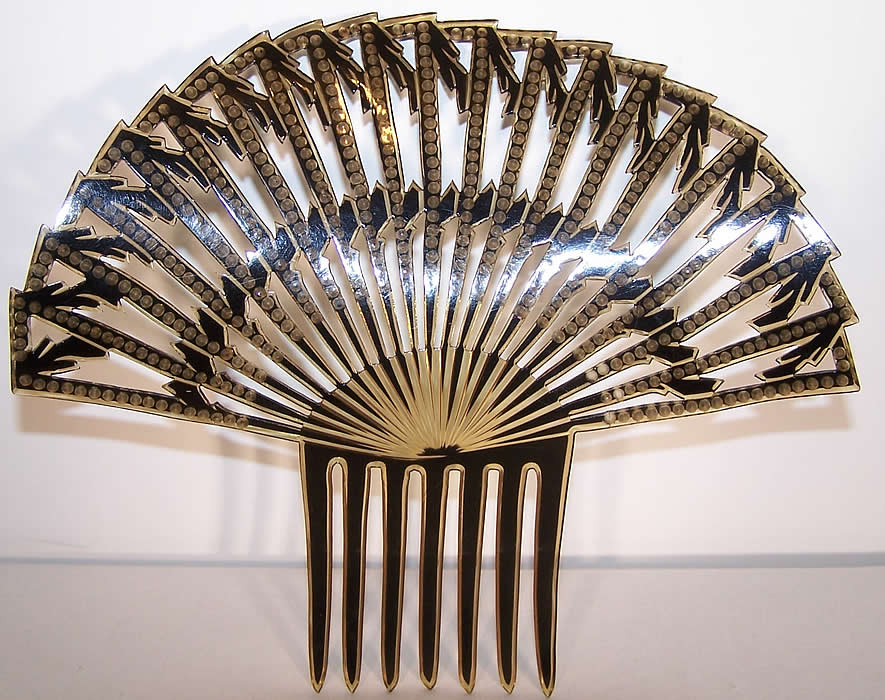 Art Deco Green & Blue Rhinestone Large Flapper Hair Comb Close up.