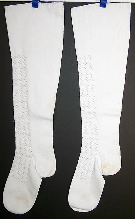 Victorian Hand Knit White Wool Stockings Socks