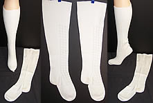Victorian Antique Hand Knit White Wool Stockings Socks