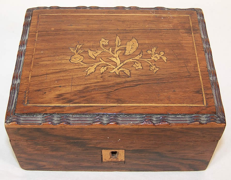 Antique Wooden Inlay Victorian Sewing Box Needlework Tools  Front view.