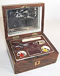 Antique Wooden Inlay Victorian Sewing Box Needlework Tools