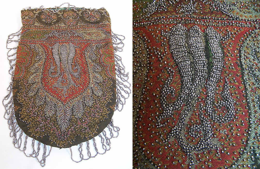 Victorian Antique Paisley Shawl Steel Cut Beaded Purse Back View.