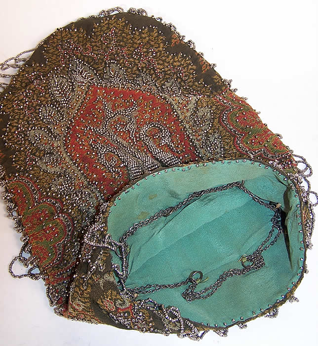 Victorian Antique Paisley Shawl Steel Cut Beaded Purse inside view.